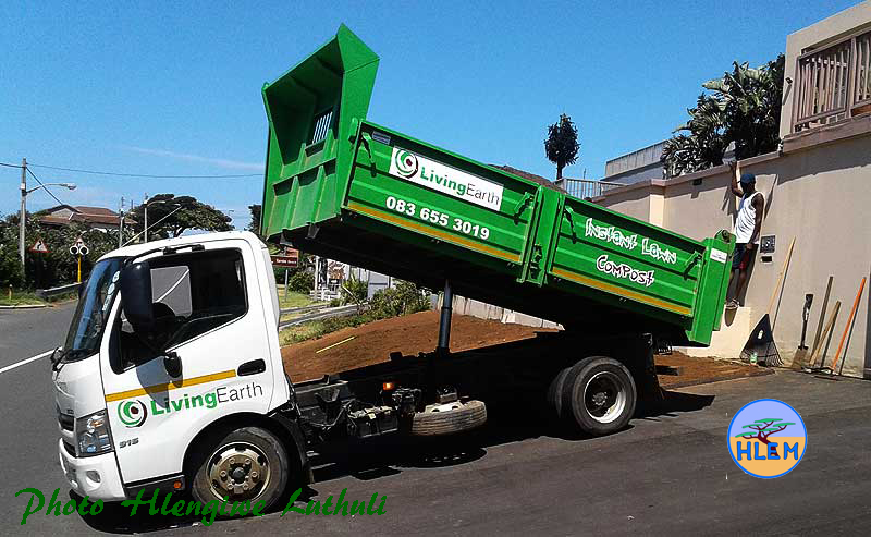 Five cubic meters of the best quality compost available being delivered by our supplier Living Earth HLEM Hlengiwe Luthuli Environmental Management (Pty) Ltd KZN Durban South Africa